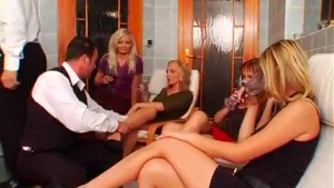 Sexy blonde guys at a group fucking party