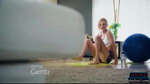 Blonde working out in her new underwear